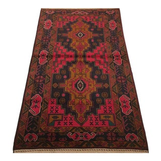 Afghani Baluch Rug in Bright Red For Sale