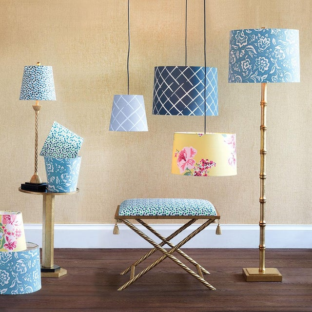 Modern Small Madcap Cottage Howards End Leaf-Print Fabric Lamp Shade For Sale - Image 3 of 4