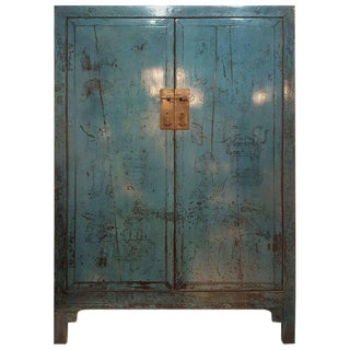Antique Mid-Century Distressed Blue Wood Cabinet For Sale
