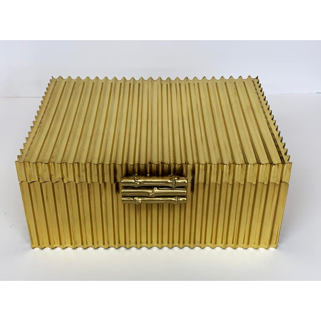 2010s Global Views Brass Corrugated Bamboo Box For Sale - Image 5 of 5