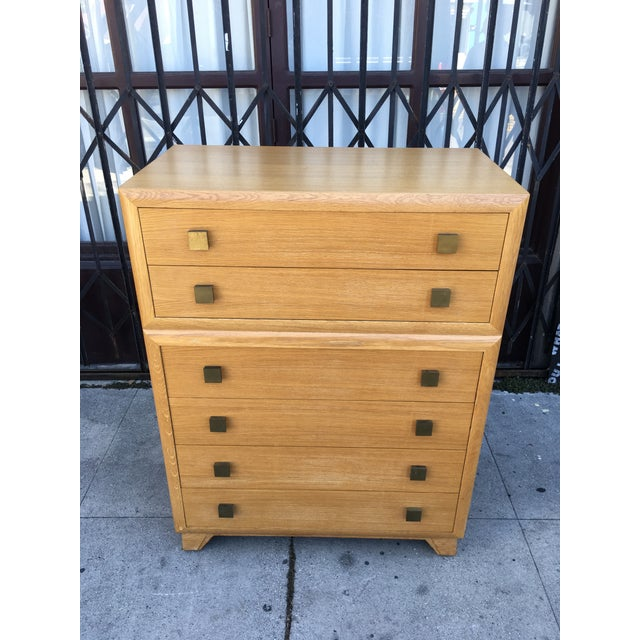 1940s 1940s Art Deco Oak Highboy Chest of Drawers For Sale - Image 5 of 13