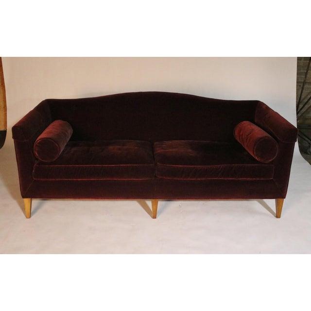 Red Baker Archetype Model #2386-80 Red Merlot Mohair Sofa For Sale - Image 8 of 11