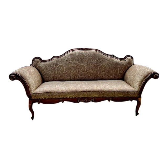 Early 19th C. French Walnut Settee With Guilt Accents For Sale