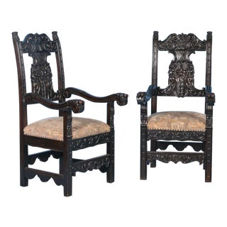 Antique Italian Arm Chairs- A Pair For Sale