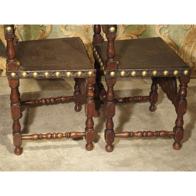19th Century Pair of Antique Oak, Leather, and Brass Side Chairs From Portugal, 19th Century For Sale - Image 5 of 13