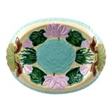 Image of Vintage Hand Painted Majolica Oval Platter, Marked Jd For Sale