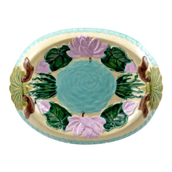 Vintage Hand Painted Majolica Oval Platter, Marked Jd For Sale