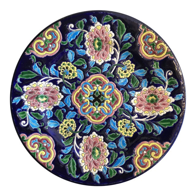 Antique French Faience Colorful Longwy Plate For Sale