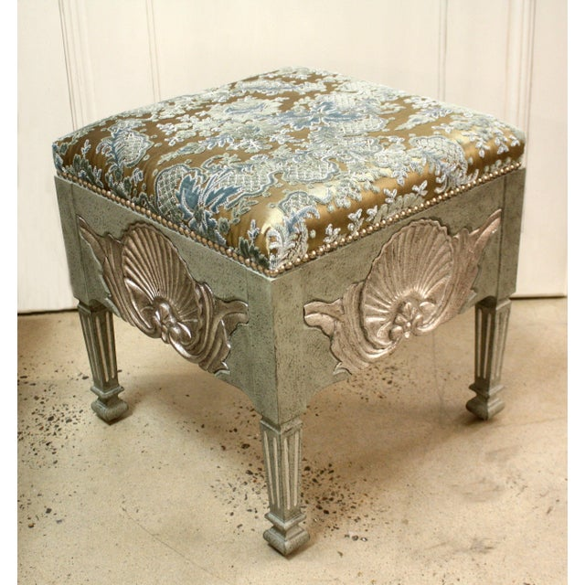 Swedish square shell stool. Shells are hand carved on all four sides. Shells are finished in Italian Silver Leaf. Height:...