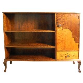 Art Deco Intarsia Dark and Golden Flame Birch Bookcase Cabinet For Sale