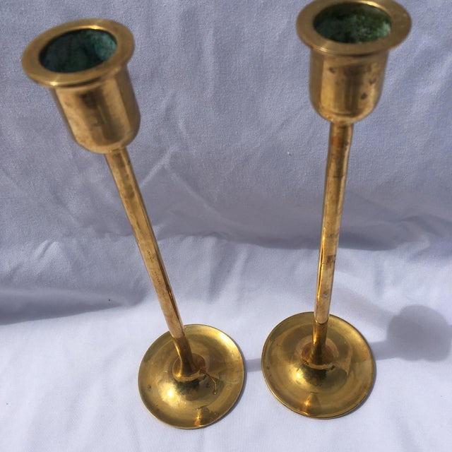 Midcentury Modern Tall Brass Candlesticks - Image 5 of 7