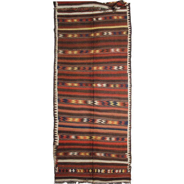 "Hand Knotted Antique Maimana Kilim by Aara Rugs - 16'0"" x 6'0"" - Image 3 of 5"