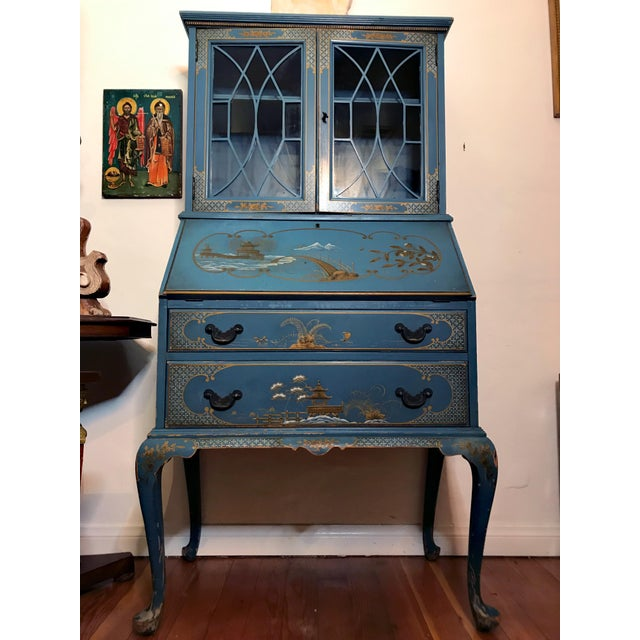 Lovely blue color Secretary desk, mid 20th Century, blue color, two drawers on the bottom, one small drawer in side, glass...