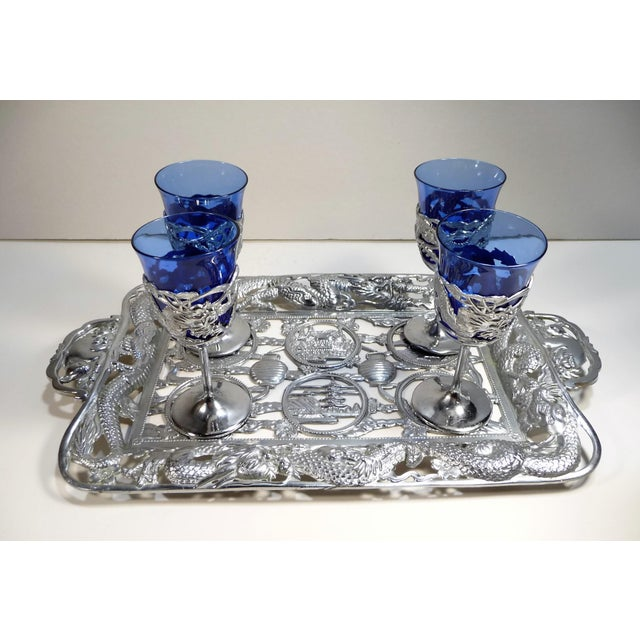 Blue Vintage Asian Dragon Theme Chrome Tray With Matching Cobalt Cordial Glasses - Set of 7 For Sale - Image 8 of 11