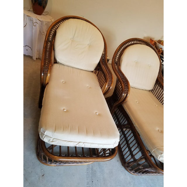 Vintage Wicker Rattan Chaise Lounges - A Pair For Sale - Image 4 of 9