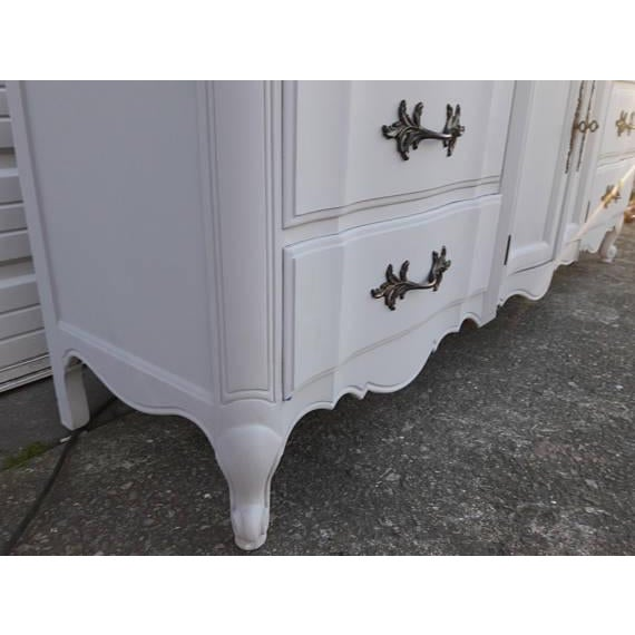 French Provincial Farmhouse Style Gray Lowboy Sideboard - Image 8 of 8