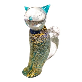 Vintage Green and Gold Murano Art Glass Cat For Sale
