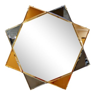 Vintage Art Deco Large Tone Diamond Star Shaped Wall Mirror For Sale