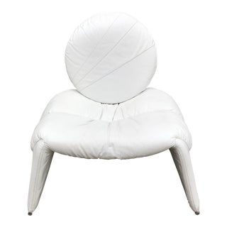 White Leather Slouchy Lounge Chair