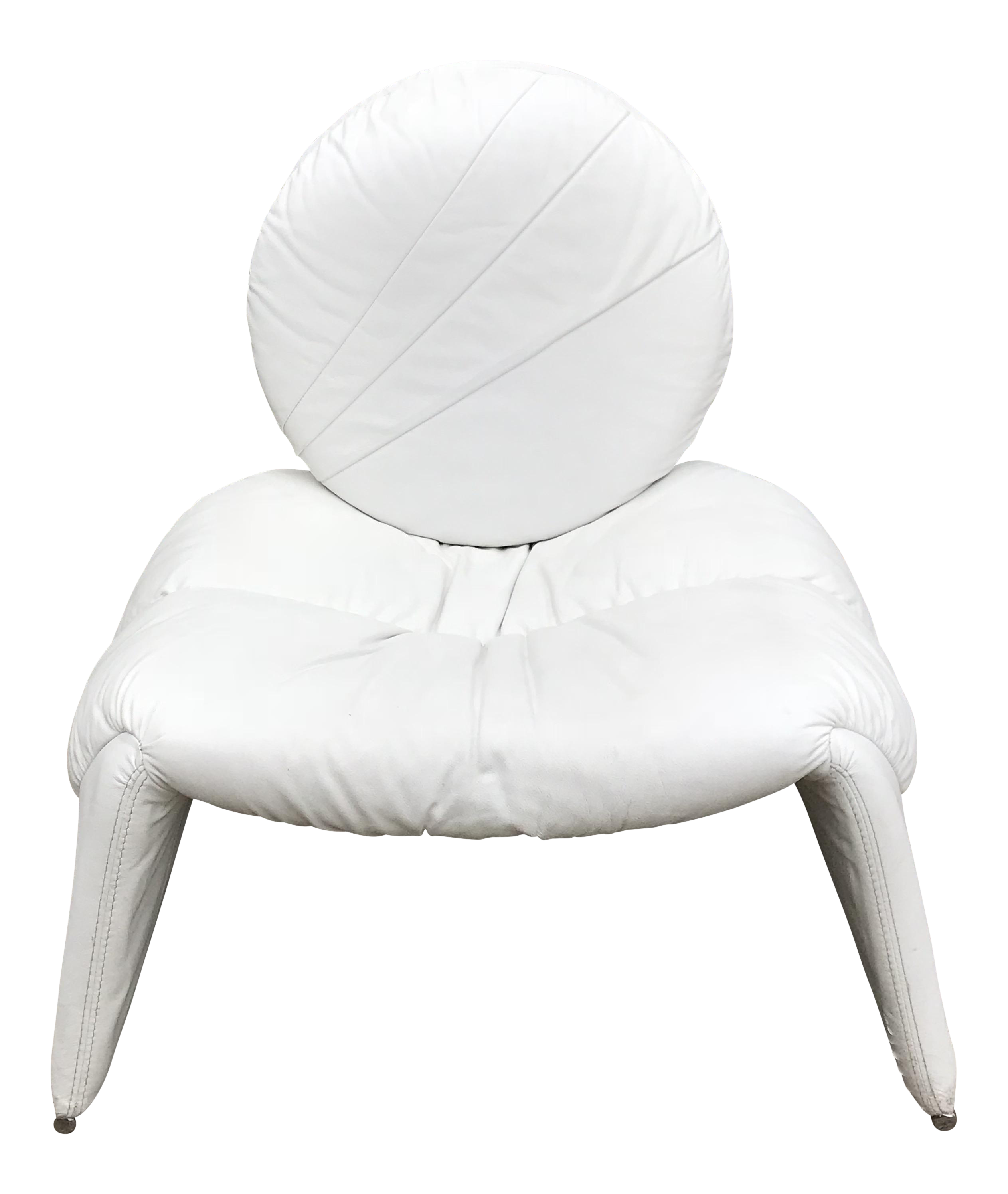 Exceptional White Leather Slouchy Lounge Chair   Image 1 Of 10