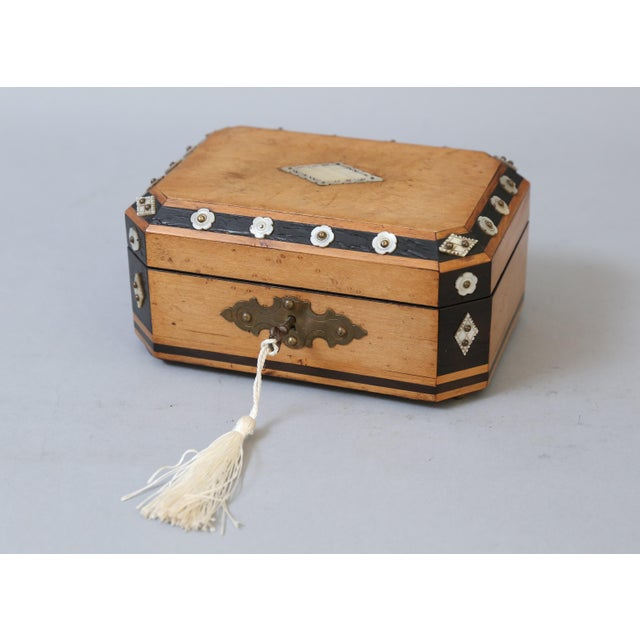 Blue French Satin Wood & Mother of Pearl Box, Lock & Key For Sale - Image 8 of 8
