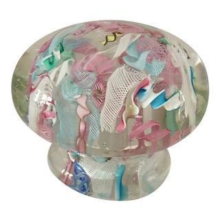 Murano Latticino & Twisted Zanfirico Ribbon Paper Weight For Sale