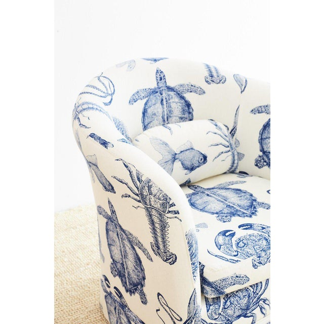 Blue and White Sea Life Nautical Club Chair For Sale In San Francisco - Image 6 of 13