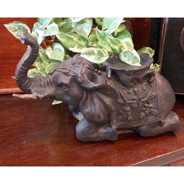 Asian Vintage Mid Century Cast Iron Elephant Paper Weight Door Stop / Office Shelf Decoration For Sale - Image 3 of 8