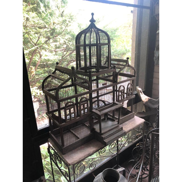 Antique Victorian Iron Wire & Wood Mansion Style English Folk Art Bird Cage For Sale - Image 13 of 13