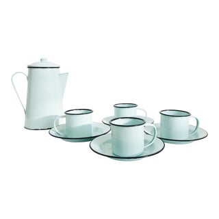 Vintage Pale Blue Enamel Camping Coffee Set For Sale