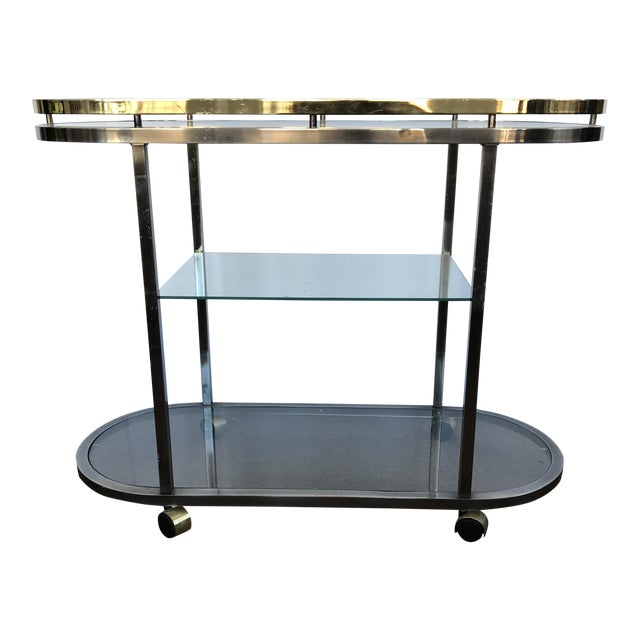 Mid-Century Modern Chrome & Brass Bar Cart - Image 1 of 5