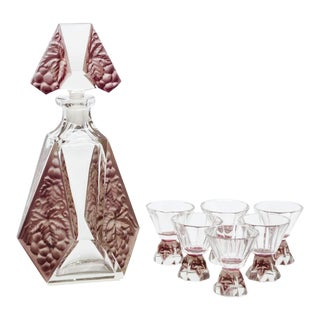 Karl Palda Art Deco Czech Decanter and Shot Glasses - Set of 7 For Sale