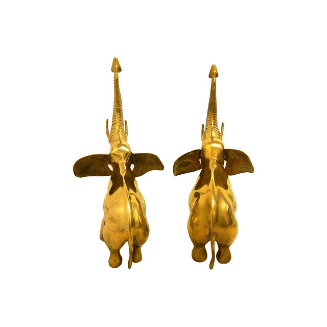 Oversize Rearing Brass Elephants - A Pair For Sale - Image 5 of 6
