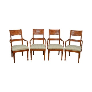Lexington Regency Style Set of 4 Cherry Wood Arm Chairs