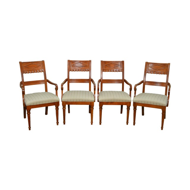 Lexington Regency Style Set of 4 Cherry Wood Arm Chairs For Sale