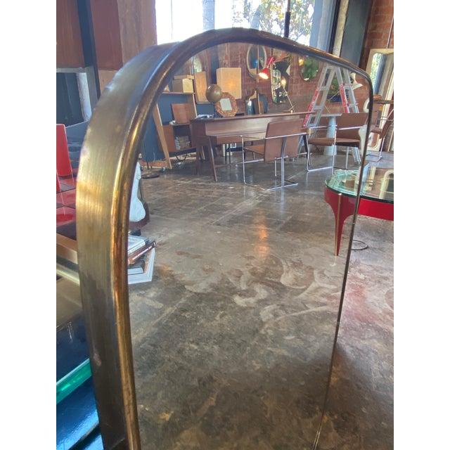 1950s Italian Minimal Curvilinear Brass Mirror For Sale - Image 5 of 9