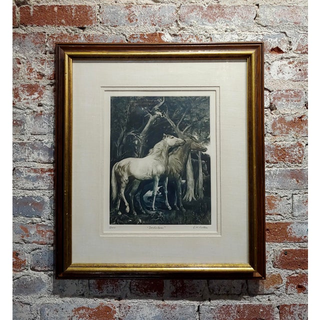 g.h. Rothe - Pair of Horses in Love - Beautiful Color Mezzotint -Pencil Signed For Sale - Image 10 of 10