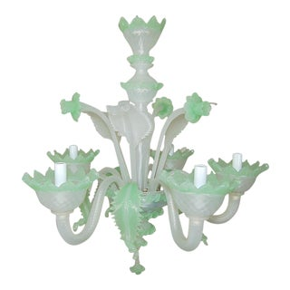 Chandelier Vintage Murano Glass Opaline White Green For Sale