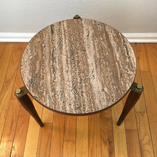 Wood Mid-Century Round Marble Top Stacking Tables - Set of 3 For Sale - Image 7 of 8