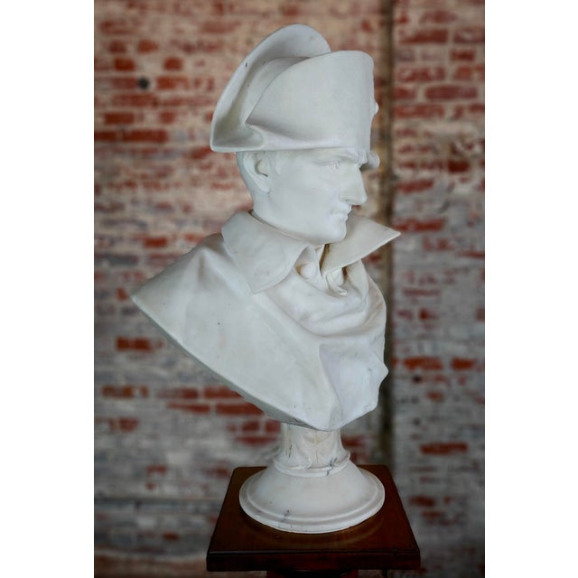 Napoleon III Napoleon Bonaparte Emperor 19th Century Marble Bust Hand Carved Carrara Marble Bust of Napoleon For Sale - Image 3 of 12