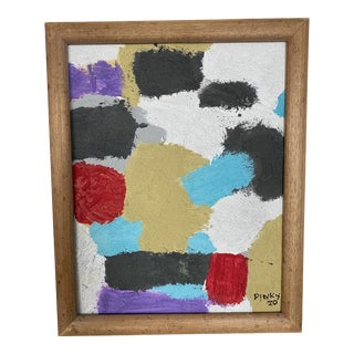 Bleached Wood Framed Small Contemporary Abstract Painting For Sale