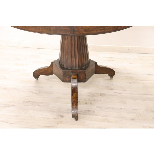 Brown 19th Century Empire Walnut Round Centre Table For Sale - Image 8 of 12
