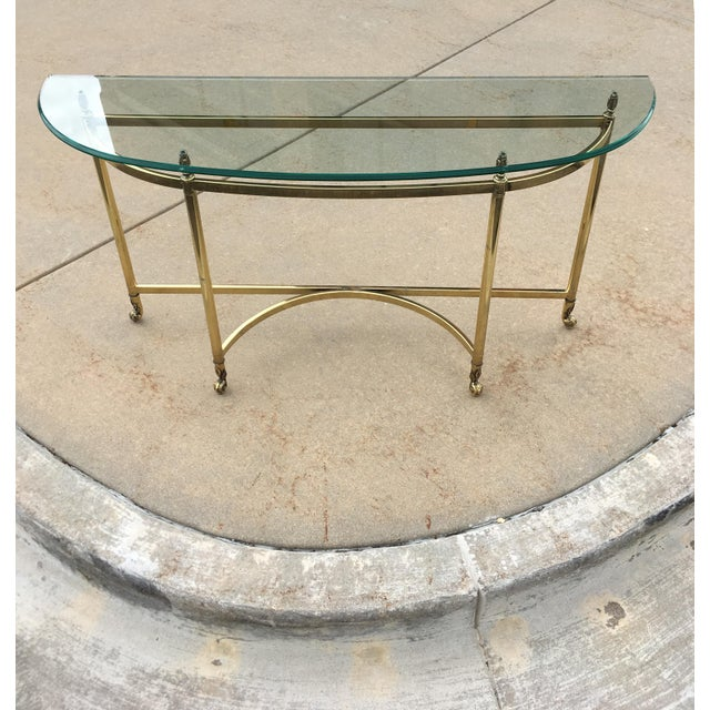Mid-Century Labarge Brass & Glass Demi-Lune Console Table For Sale - Image 9 of 13