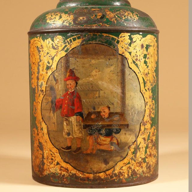 Asian Green Tole Tea Canister with Chinoiserie Scene For Sale - Image 3 of 4