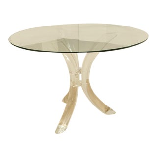 Round Mid-Century Lucite Tusk Dining Table For Sale