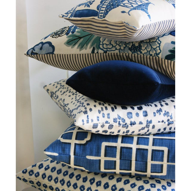 Brunschwig & Fils Les Touches Embroidered Canton Blue Lumbar Pillow Cover For Sale In Portland, OR - Image 6 of 7