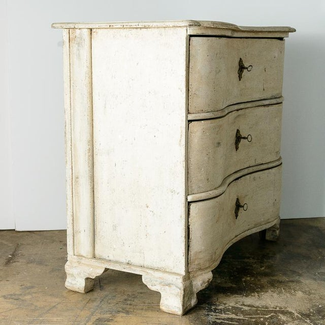 Antique 18Th. C. Swedish Painted Wood Three Drawer Chest, Gustavian For Sale - Image 11 of 13