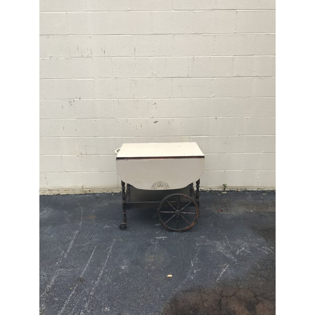 20th Century English Traditional Tea Cart With Collapsible Sides For Sale - Image 4 of 9