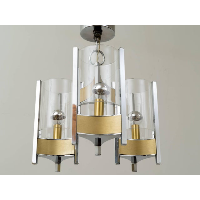 Mid 20th Century Sciolari Brushed Brass and Chrome Hurricane Glass Chandelier For Sale - Image 5 of 8