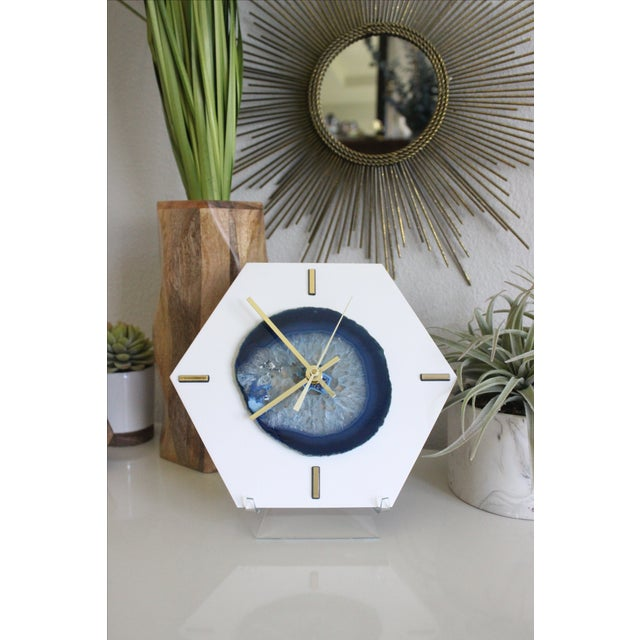 Modern Navy Blue SoLo Agate Large Desk Clock - Image 5 of 7